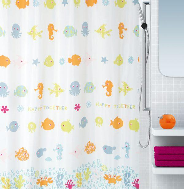 Duschvorhang Spirella Happy Fish Textil